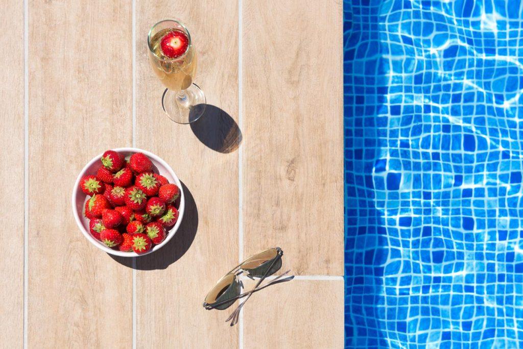 pool with villa rhodes