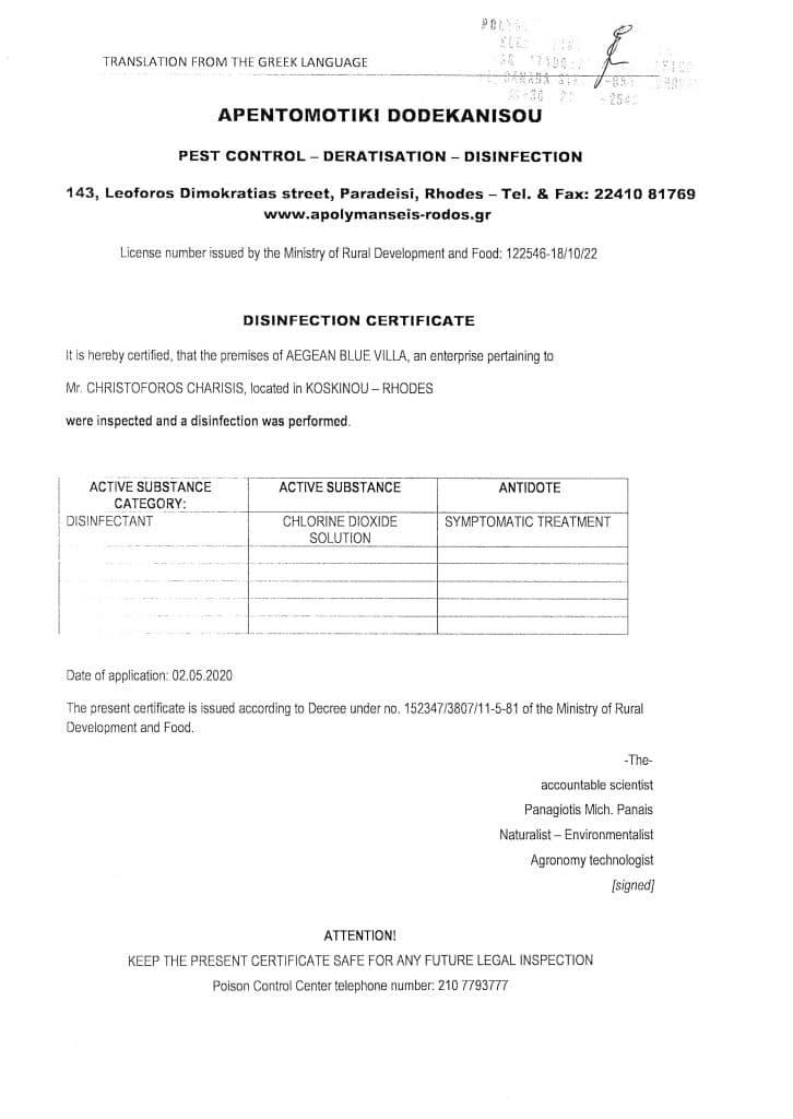 disingention certificate aegean blue villa